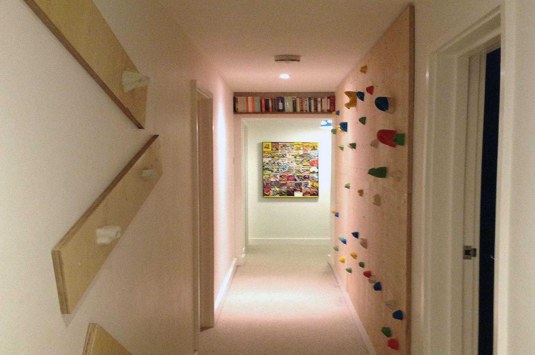 Hallway climbing wall